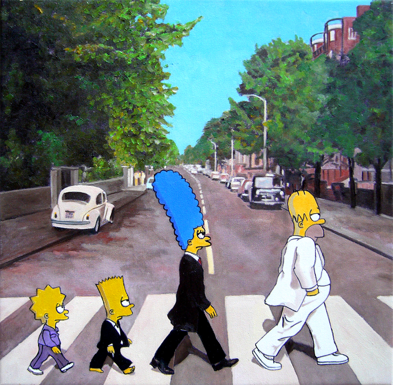 The simpsons in abbey road marco cerutti artwork - The simpsons abbey road wallpaper ...