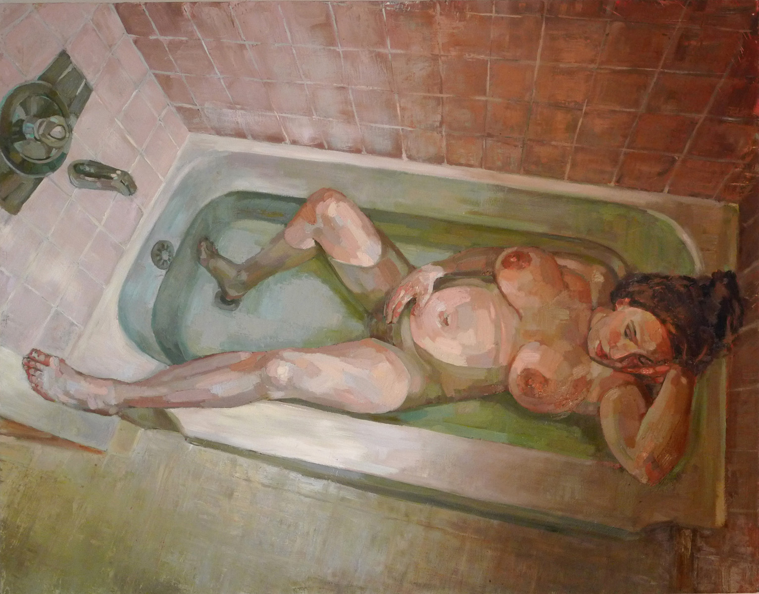 Pregnant Woman In A Bath Tub