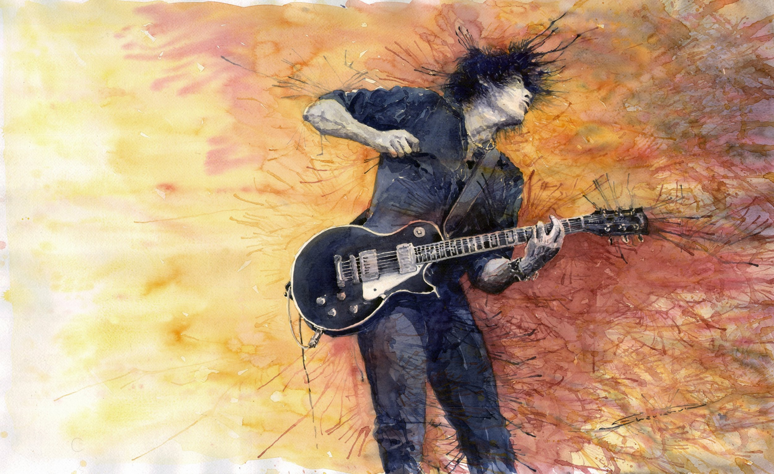 Guitarist Painting Jazz Rock Guitarist St...