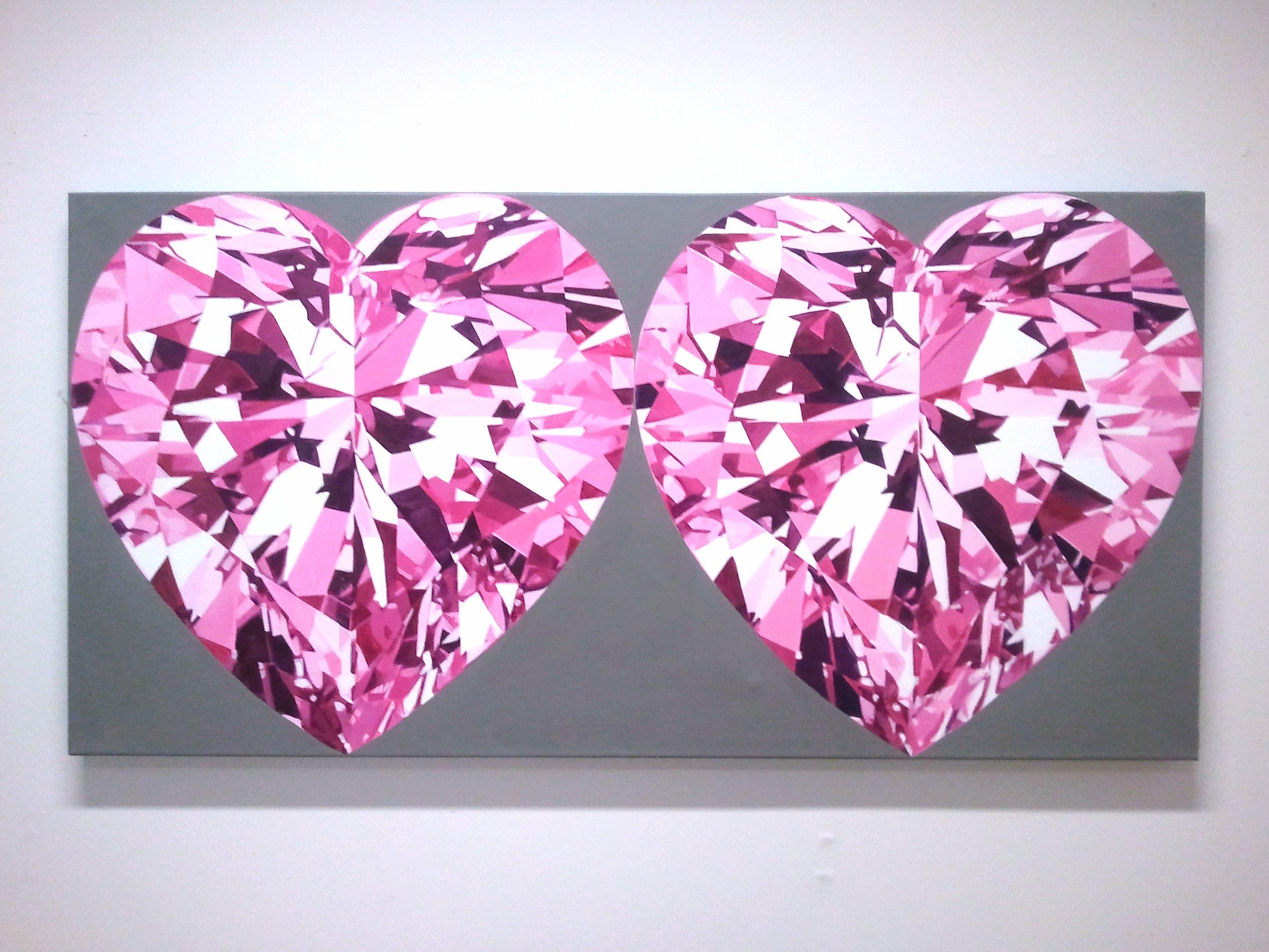 two pink heart diamonds minsung chloe keyoung artwork