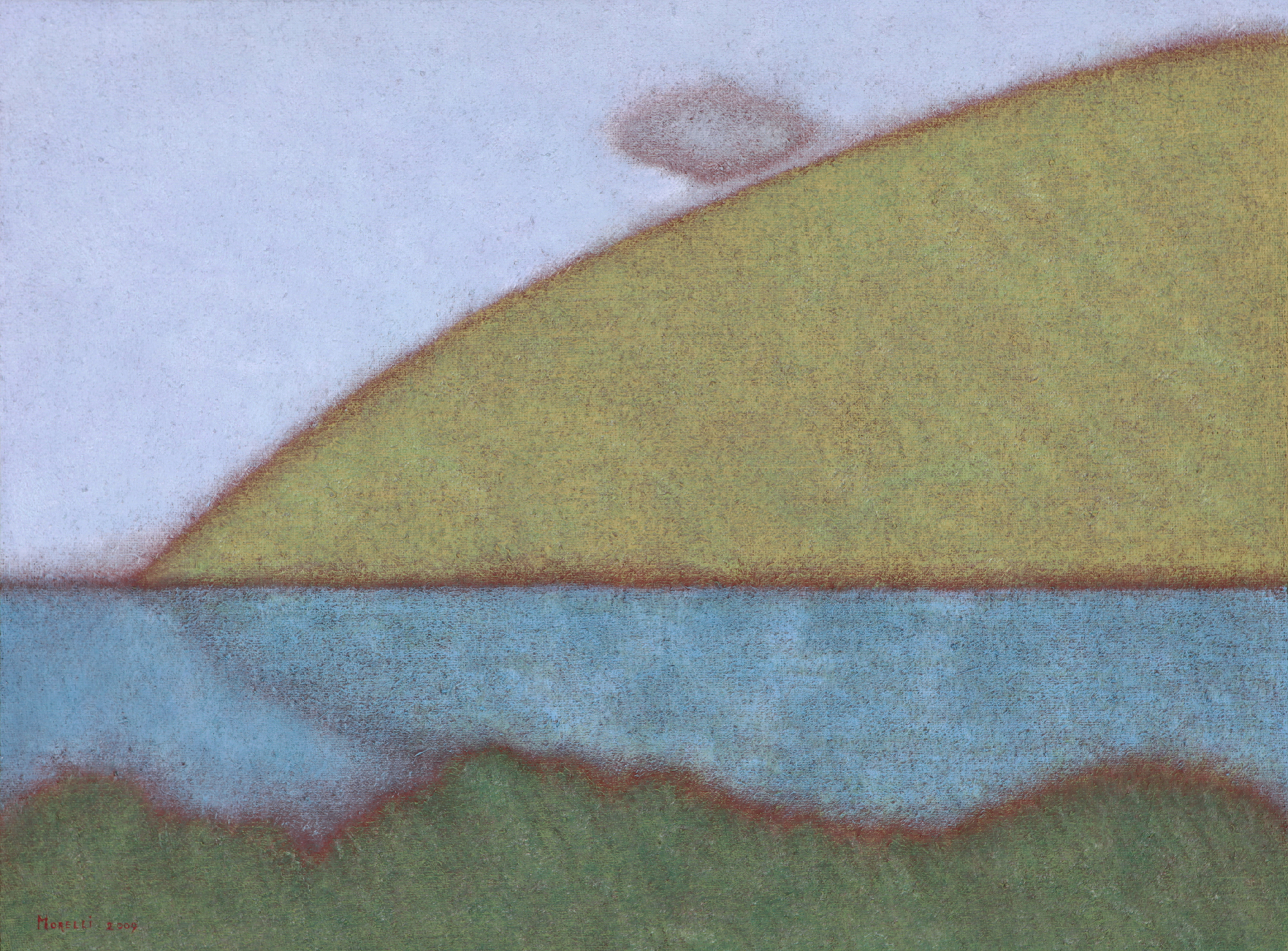 Merlino Bottega D Arte guido morelli, 'collina con piccolo temporale' - merlino