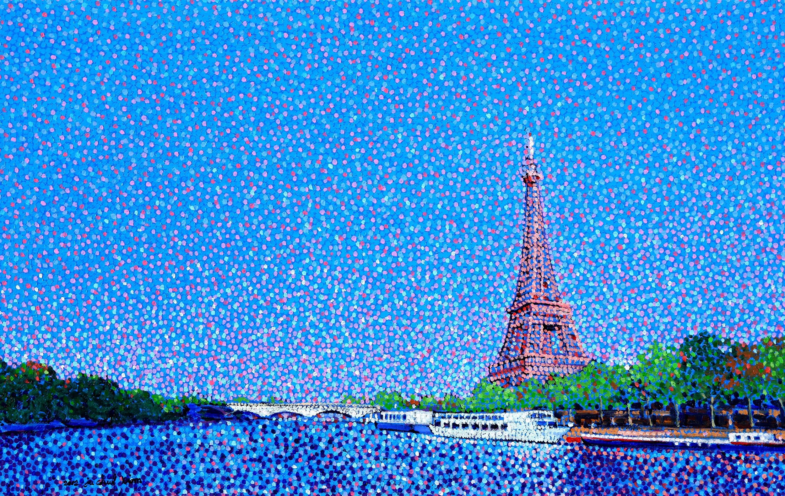 Eiffel Tower and the Seine River Landscape - JUCHUL KIM ...  Eiffel Tower Painting Landscape