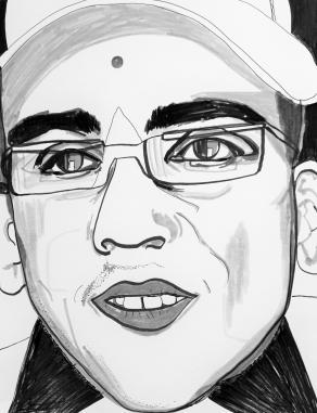 Portrait of Xavier Naidoo s/w Version by Fritzsch Anneliese