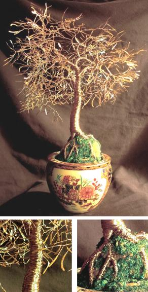 Asian Gold Leaves, wire tree sculpture