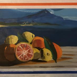 Lemons and oranges in front of the Etna