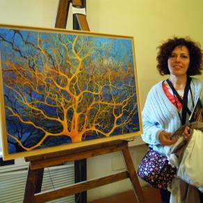 Maristella Angeli nel suo studio artistico