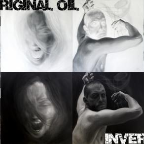 Collage of my white-black paintings and inverted version of it