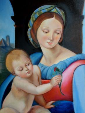 """riproduzione -mia versione- di """"Madonna Aldobrandini"""" di Raffaello"""