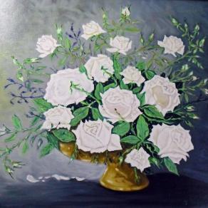 """""""Rose bianche"""" olio su tela, con cornice bianca, Firmato Artista Pietro Dell'Aversana"""