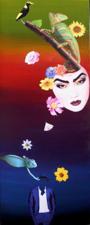 Otto fiori (pittura+ritagli pubblicitari)
