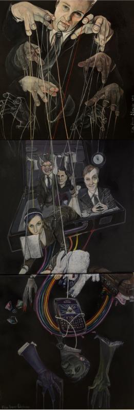 "-""Habits: follow the Rainbow not  the Whiterabbit""- : Rainbow V : The bussinessman masterpuppets"