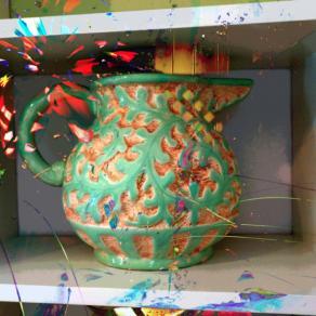 Upright painted epiphyte jug