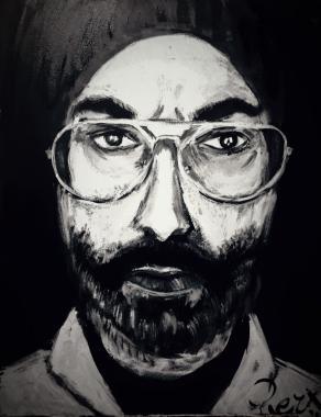 Portrait of the Artist seen through a mirror