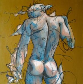 enigma della solitudine ( uomo di schiena che piange) (N XV della serie butterfly and hurricane)