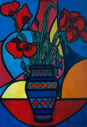 Vaso di papaveri - Poppies bowl