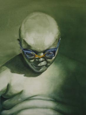 Boy with blue goggles