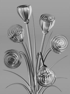 Gray Glass Flowers