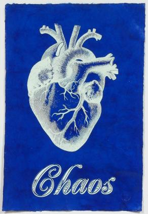 Chaos on handmade Blue lacquered paper, medical heart screen print
