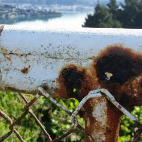 old fence, now holey