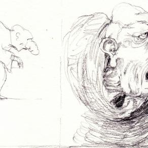 Sketch for old elephantine monk