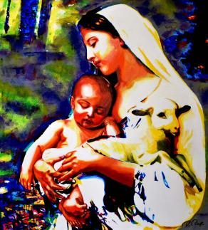 MADONNA WITH JESUS AND LAMB