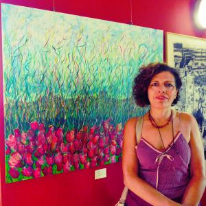 "Maristella Angeli, present at the inauguration of the Collective Exhibition ""Landscapes of Italy"", Gualdo Tadino (PG)"