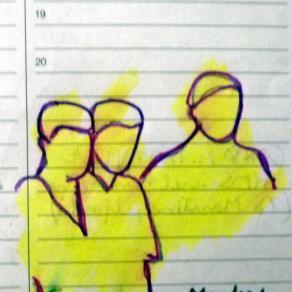 Tratti con sfondo giallo (serie Liberi appunti in libera mostra)