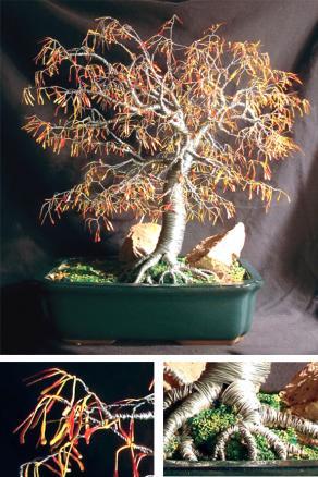 Autumn Bonsai, wire tree sculpture