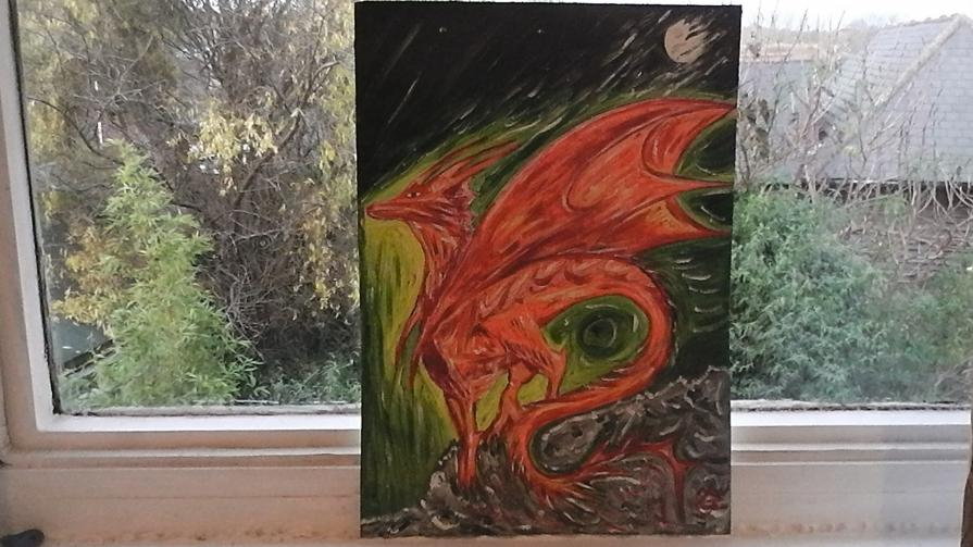 Red Baby Dragon Cross with a Phoenix