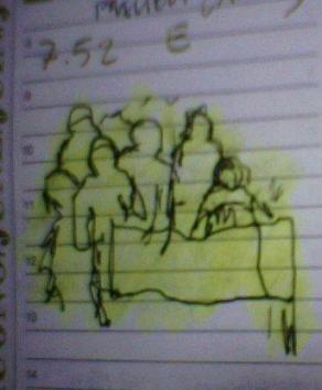 Tratti con sfondo giallo (serie Liberi appunti in libera mostra).